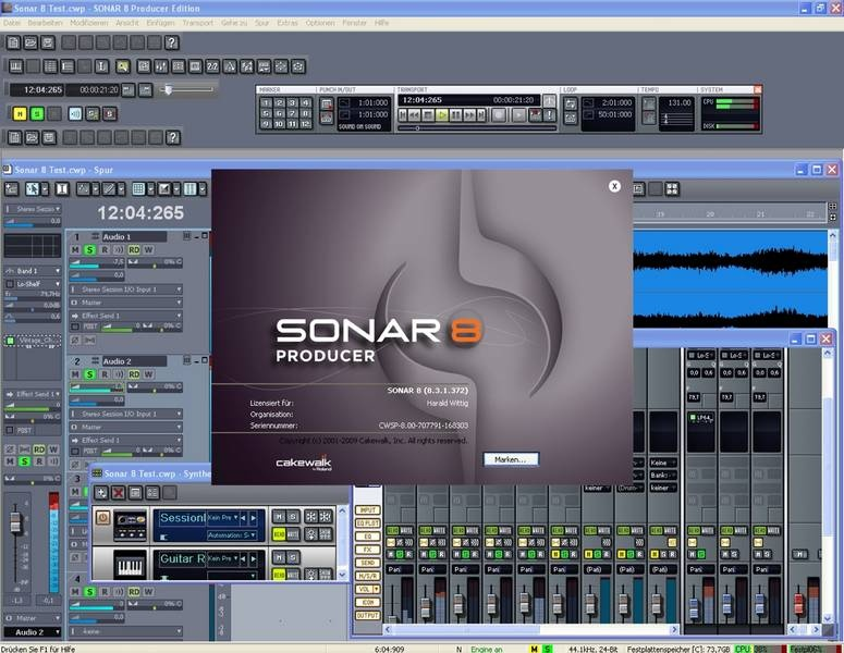 Test: Sequenzer-Software Cakewalk Sonar 8