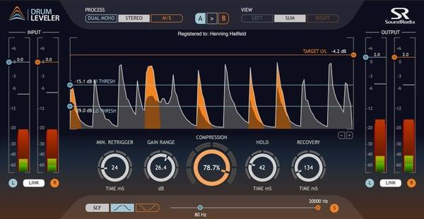Test Kompressor Plug-in Sound Radix Drum Leveler